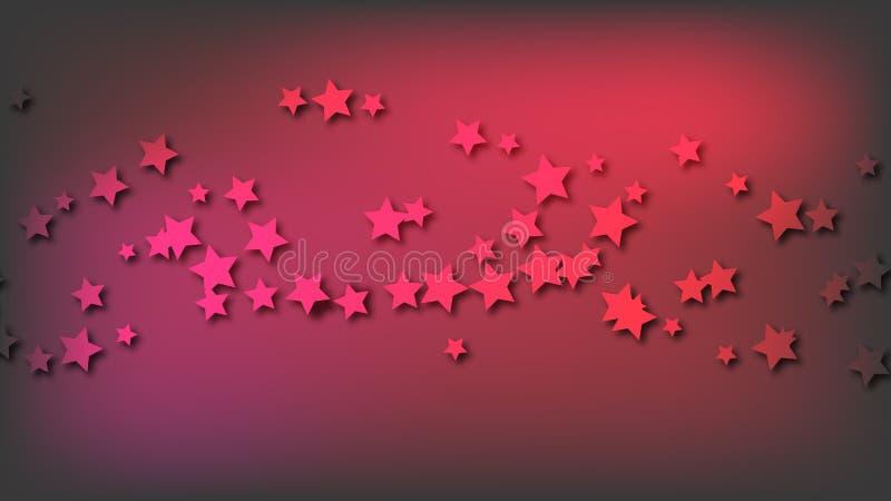 Abstrakter Raumhintergrund mit roten dreidimensionalen Sternen mit Schatten Mehrfarbige schöne Sterne auf einer roten hellen farb vektor abbildung