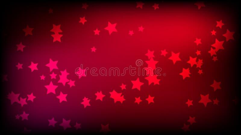 Abstrakter Raumhintergrund mit roten Sternchen Mehrfarbige schöne Sterne auf einem roten hellen farbigen Hintergrund stock abbildung