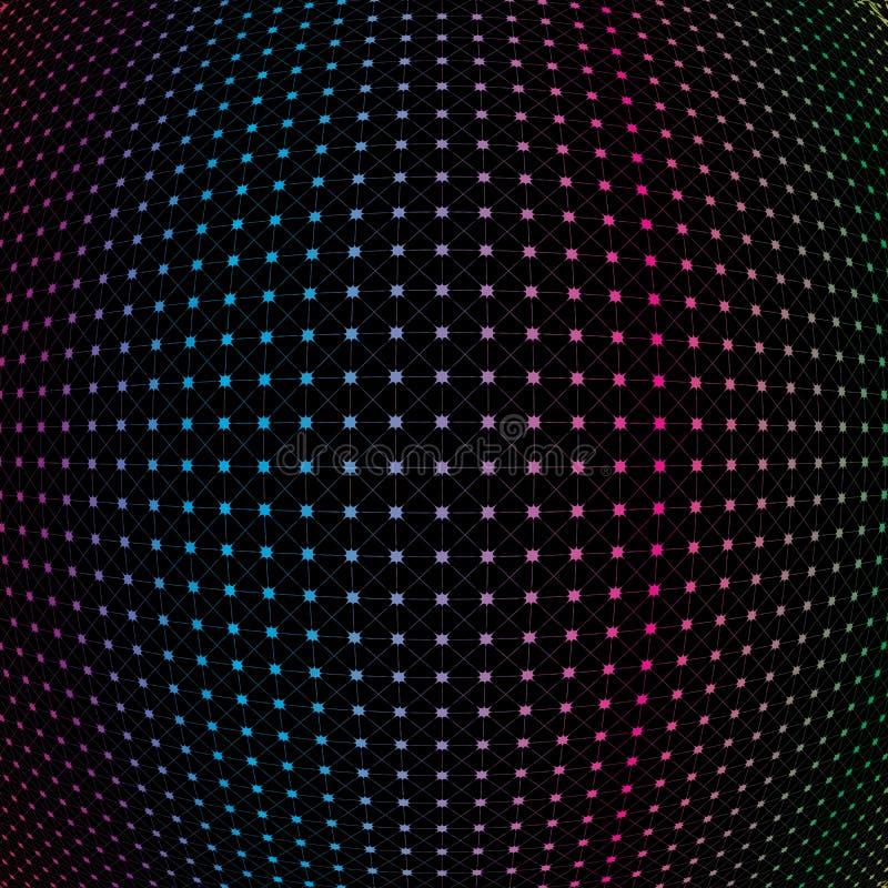 Abstrakter Regenbogen-buntes Netz-Gitter Mesh Sphere Pattern Backg stock abbildung