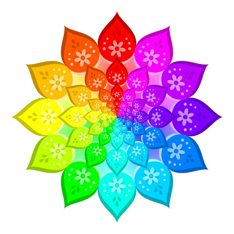 Abstrakter regenbogen farbige mandala blume lokalisiert for Regenbogen dekoration