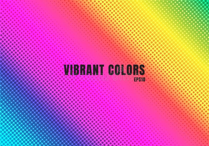 Abstrakter Regenbogenfarbhintergrund mit Halbtonbeschaffenheit Buntes glattes Steigungspunktmuster Vibrierende Farbretro- achtzig vektor abbildung