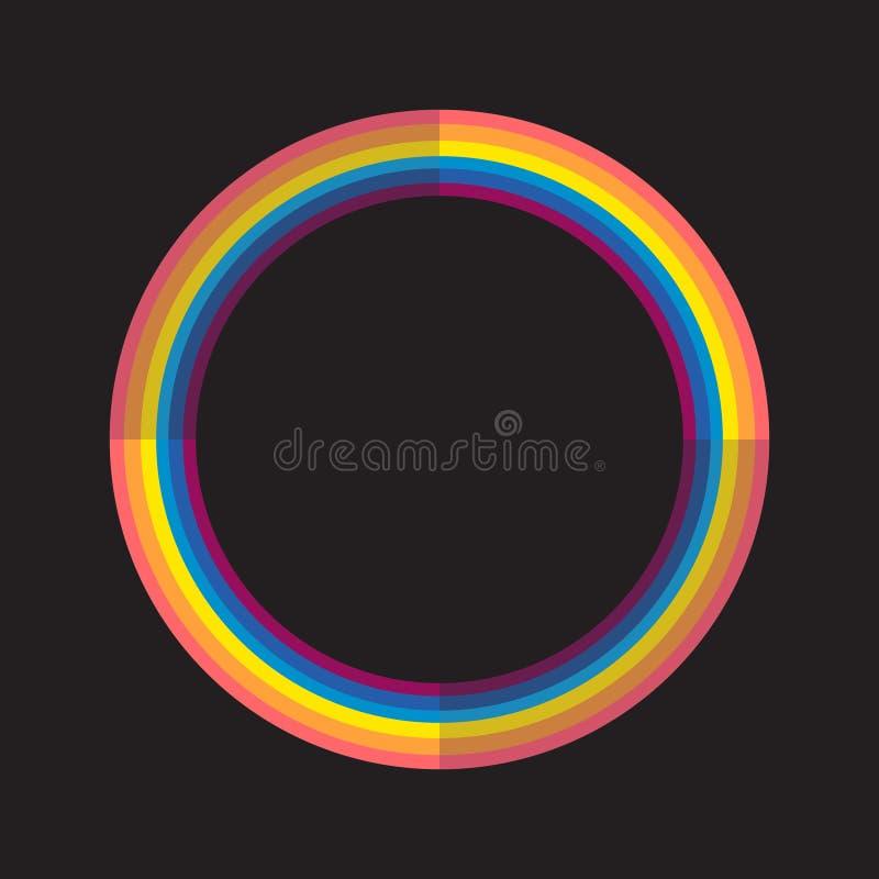 Abstrakter Regenbogenfarbkreis mit hellem und Dunklem stock abbildung