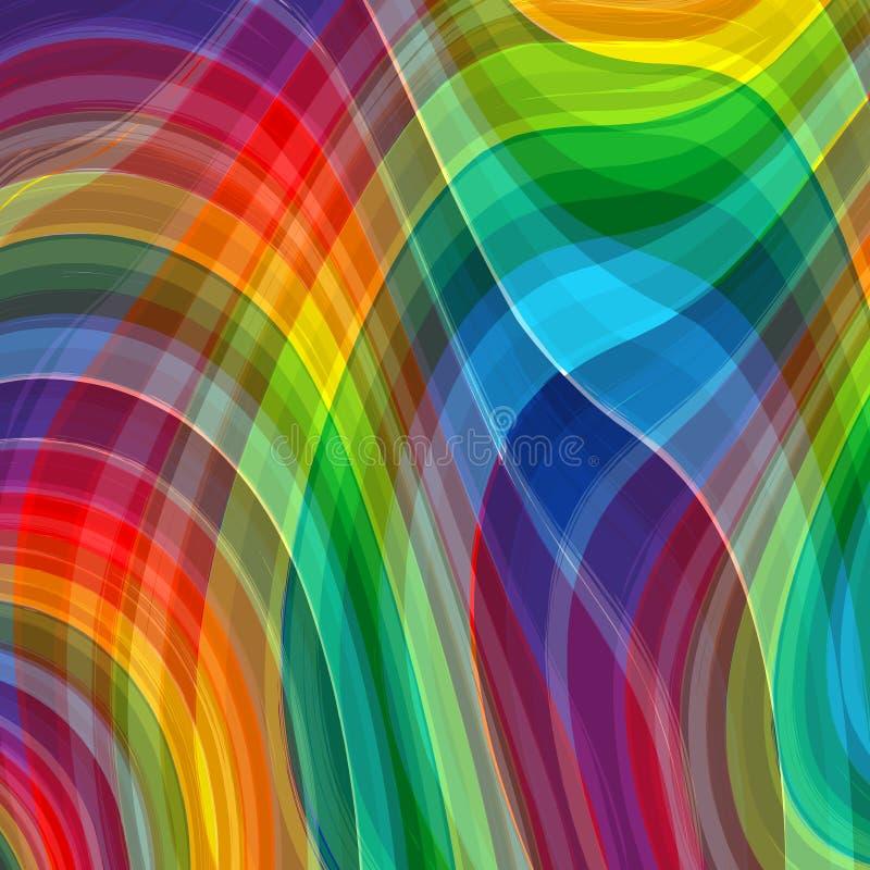 Abstrakter Regenbogenfarbzeichnungs-Plaidhintergrund vektor abbildung