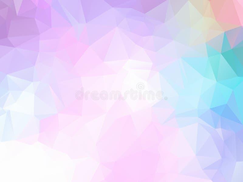 Abstrakter Regenbogenhintergrund des weichen Lichtes, welche aus farbigen Dreiecken besteht Abstrakter bunter polygonaler Mosaik- vektor abbildung