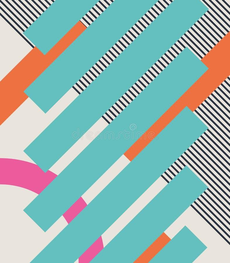Abstrakter Retro- Hintergrund 80s mit geometrischen Formen und Muster Materielles Design vektor abbildung