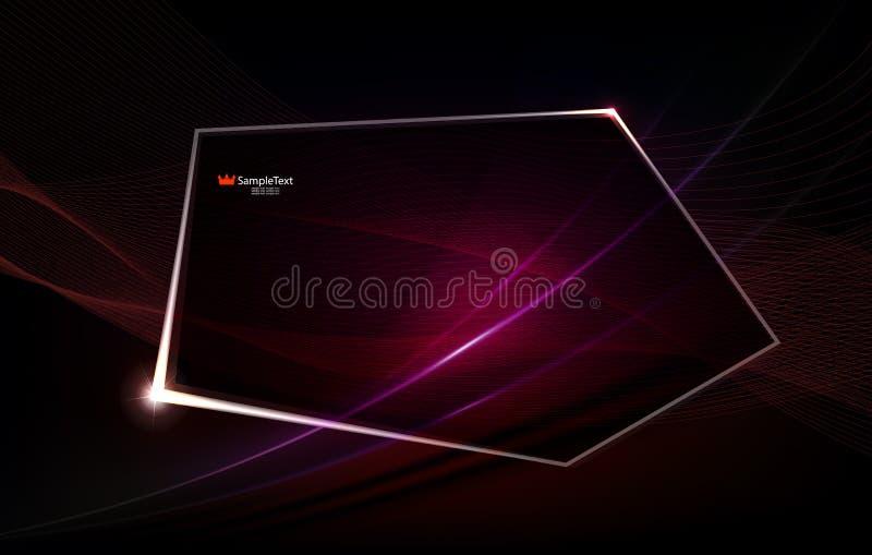 Abstrakter rosa Hintergrund wie Angelegenheit mit polygonalem glänzendem Rahmen lizenzfreie abbildung
