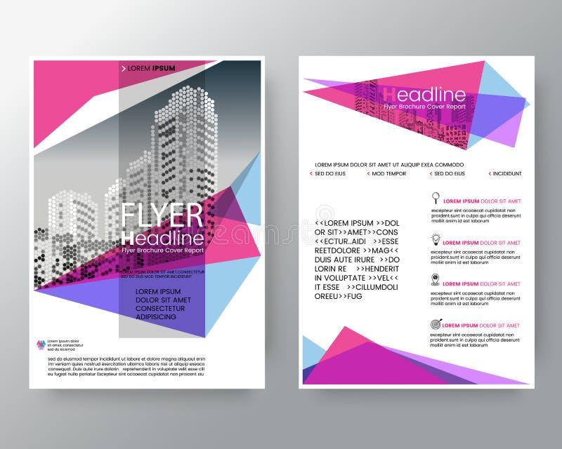 Abstrakter rosa und purpurroter geometrischer Hintergrund für Plakat-Broschüren-FliegerEntwurfschablone in der Größe A4 lizenzfreie abbildung