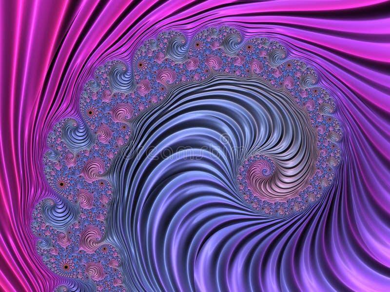 Abstrakter Rosa-, violetter und Blauer strukturierter gewundener Fractal 3d übertragen für Plakat, Entwurf und Unterhaltung festl stock abbildung