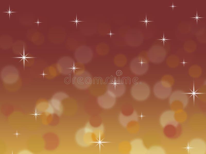 Abstrakter Rot und Goldbokeh Weihnachtshintergrund mit Twinkling spielt die Hauptrolle lizenzfreie abbildung