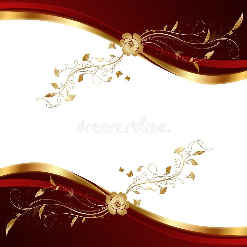 Abstrakter Rot und Goldhintergrund. stock abbildung