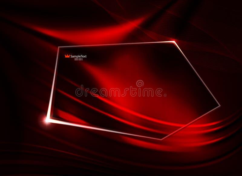 Abstrakter roter Entwurf als Angelegenheit mit glatten Linien und polygonalem glänzendem Rahmen stock abbildung