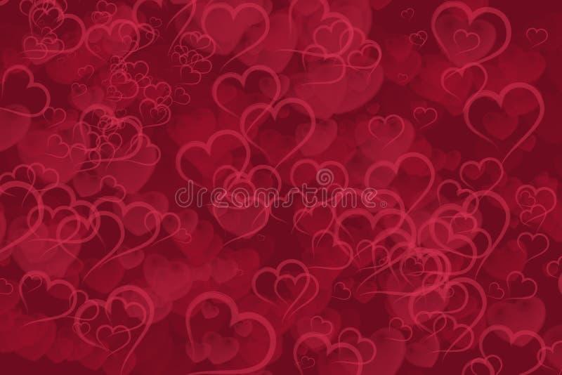 Abstrakter roter Herzen bokeh Hintergrund lizenzfreies stockbild