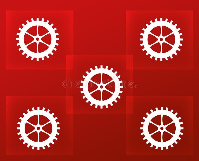 Abstrakter roter Hintergrund mit Quadraten und Gängen vektor abbildung