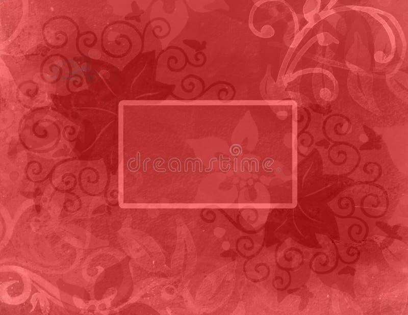 Abstrakter roter Hintergrund mit Schichten von abstrakten Blumen und von Locke Flourishes und von leerer Textbox lizenzfreie abbildung