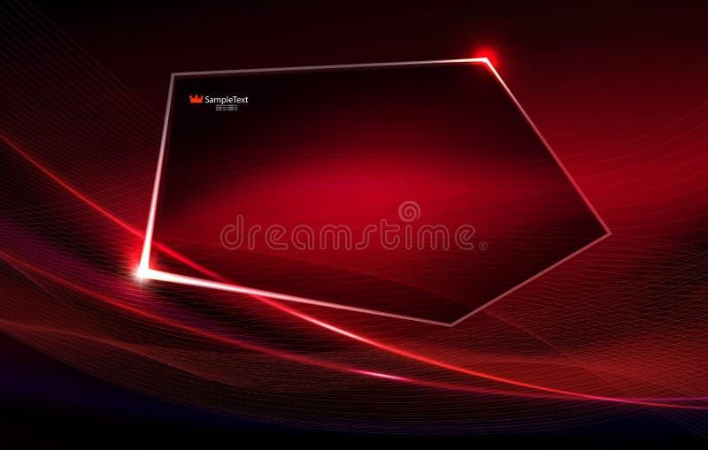 Abstrakter roter Hintergrund wie Angelegenheit mit dünnen Streifen und polygonalem glänzendem Rahmen stock abbildung