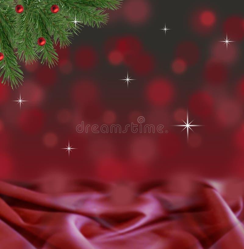 Abstrakter roter und schwarzer bokeh Weihnachtshintergrund mit Satin- und Kiefernniederlassung stockfotos