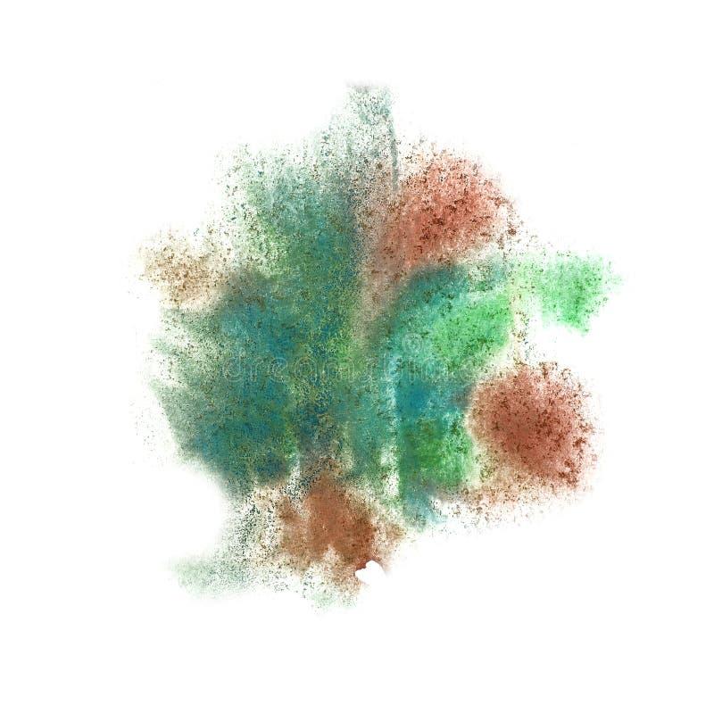 Abstrakter Rotwein, grünen lokalisiertes Aquarellfleck-Raster illustra stockfotografie