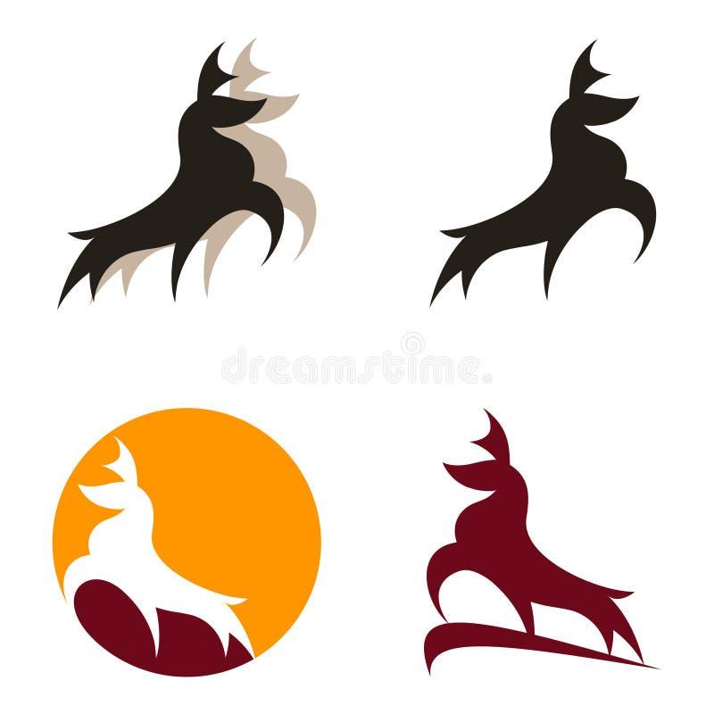 Abstrakter Rotwild-Buck Stag Vector Logo Illustrations-Satz vektor abbildung