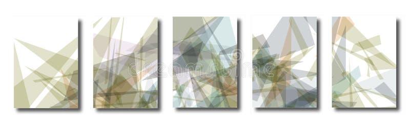 Abstrakter Satz Hintergründe mit bunten chaotischen Dreiecken stock abbildung