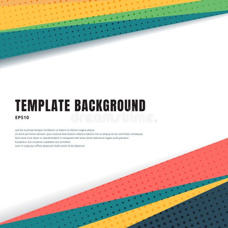 Abstrakter Schablonentitel und bunte geometrische Dreiecke der Seitenenden entwerfen mit Halbton auf weißem Hintergrund- und Kopi vektor abbildung