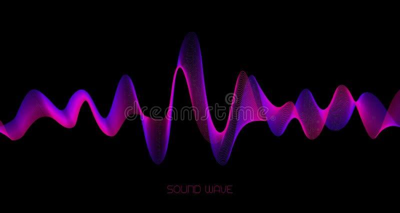 Abstrakter Schallwellehintergrund Bunte Welle auf Schwarzem stock abbildung