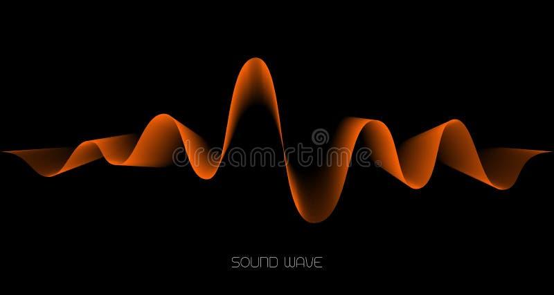 Abstrakter Schallwellehintergrund Orange Welle auf Schwarzem lizenzfreie abbildung