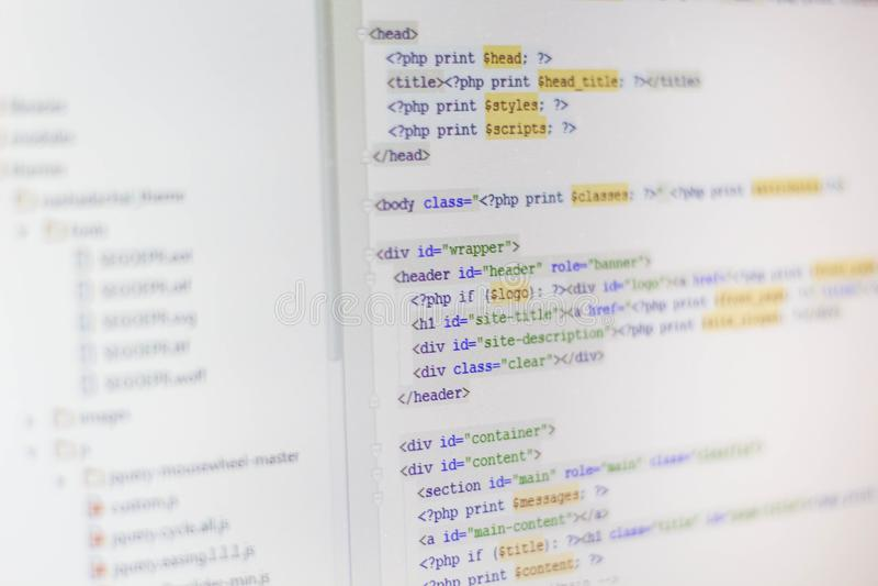 Abstrakter Schirm des Programmiercodes des Softwareentwicklers lizenzfreie stockfotos