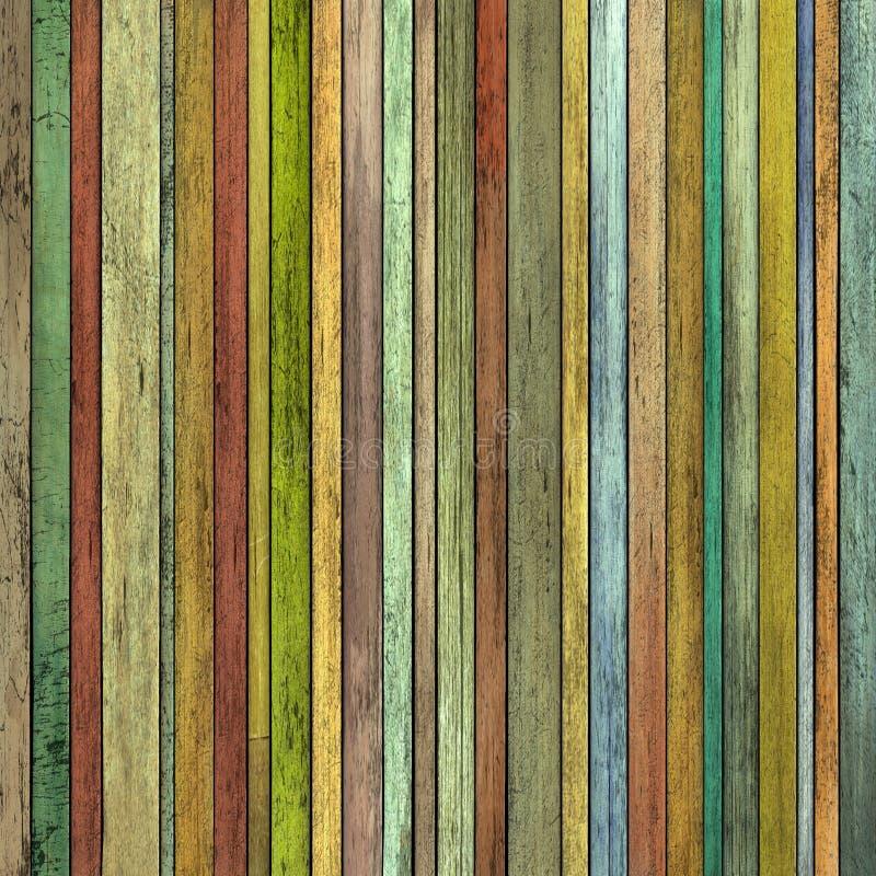 Abstrakter Schmutz 3d überträgt farbigen hölzernen Bauholzplankenhintergrund stock abbildung