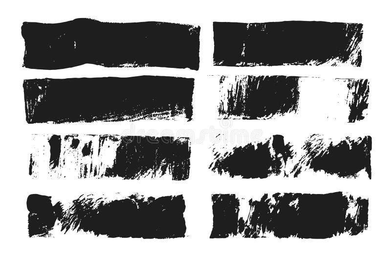 Abstrakter schwarzer Abstrich der Farbe lokalisiert auf weißem Hintergrund Rechteckige Stelle hergestellt mit Farbenrolle und sch stock abbildung