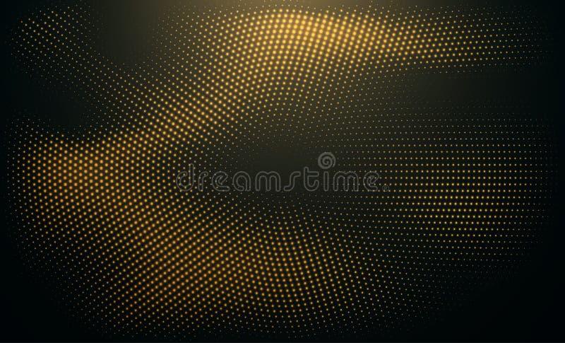 Abstrakter schwarzer Hintergrund gemasert mit Radialfunkelngoldenem Halbtonmuster stock abbildung