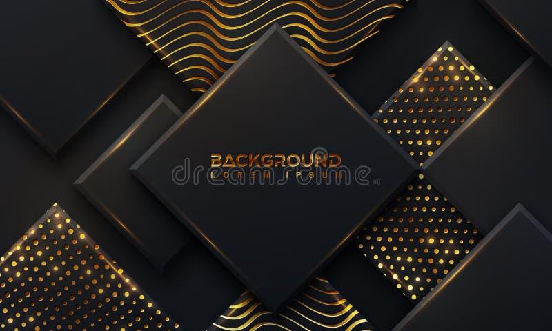 Abstrakter schwarzer Hintergrund mit gl?henden goldenen Punkten einer Kombination mit Art 3D Abstraktes schwarzes papercut strukt vektor abbildung