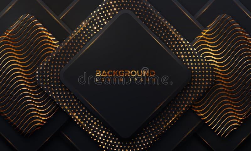 Abstrakter schwarzer Hintergrund mit gl?henden goldenen Punkten einer Kombination mit Art 3D Abstraktes schwarzes papercut strukt stock abbildung