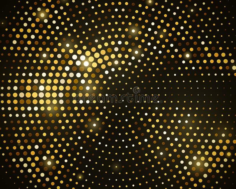 Abstrakter schwarzer Hintergrund mit Retro- goldenem Funkelnhalbton lizenzfreie abbildung