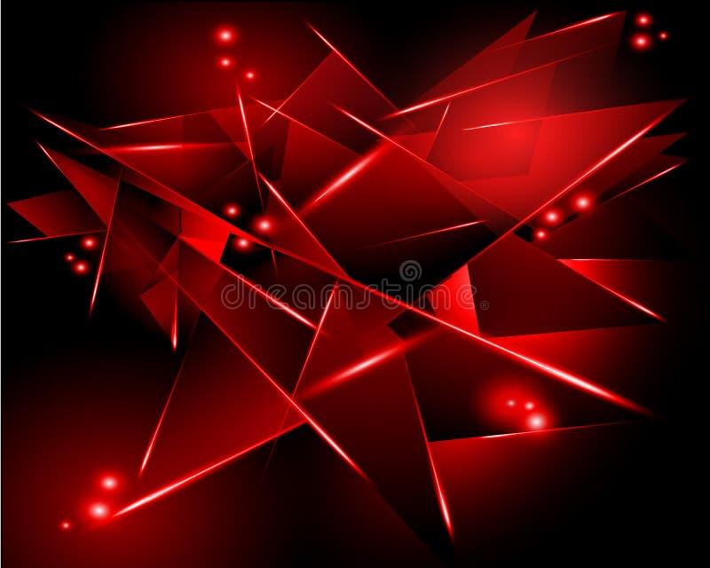 Abstrakter schwarzer Hintergrund mit roter geometrischer Form lizenzfreie abbildung