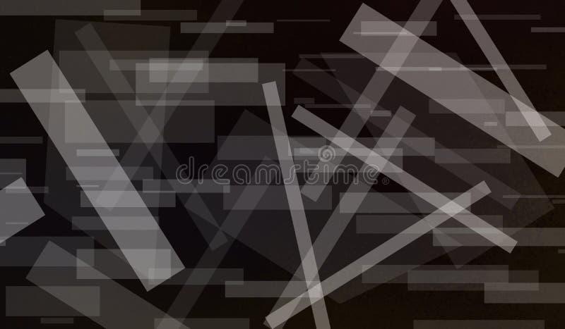Abstrakter schwarzer Hintergrund mit weißen Rechteckformen überlagerte im modernen Muster der grafischen Kunst mit Streifen und L lizenzfreie abbildung