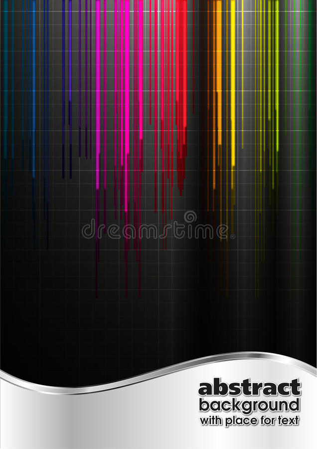 Abstrakter schwarzer Mehrfarbenleuchtehintergrund lizenzfreie abbildung