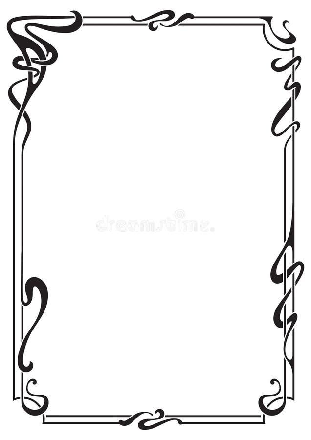 Abstrakter schwarzer Rahmen in der Jugendstilart vektor abbildung
