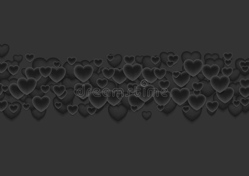 Abstrakter schwarzer Valentinsgruß-Tagesherzhintergrund lizenzfreie abbildung