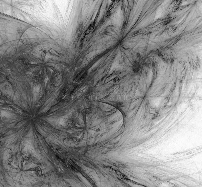 Abstrakter Schwarzweiss-Fractal auf weißem Hintergrund Fantasie Fractalbeschaffenheit Tiefrote Rotation Digital-Art Wiedergabe 3d lizenzfreie abbildung