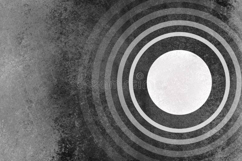 Abstrakter Schwarzweiss-Hintergrund mit Kreisen schellt Muster und Schmutzbeschaffenheit stock abbildung