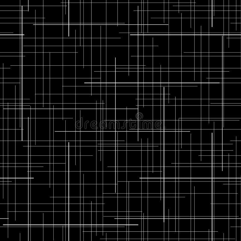 Abstrakter Schwarzweiss-Hintergrund Plaidgewebebeschaffenheit Gelegentliche Zeilen Nahtloses Muster lizenzfreie abbildung
