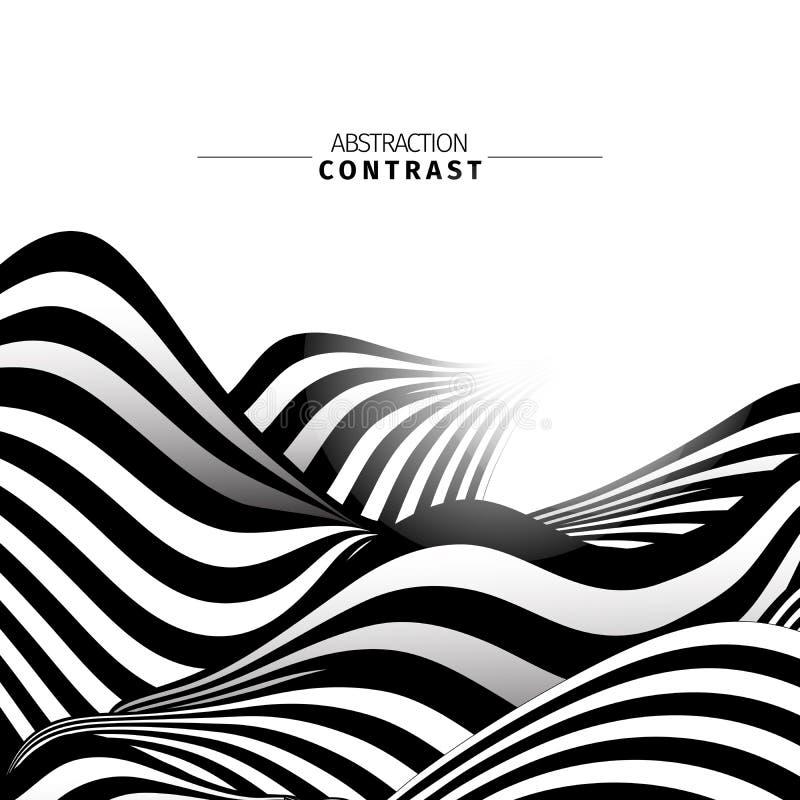 Abstrakter Schwarzweiss-Wellenfarbhintergrund lizenzfreie abbildung