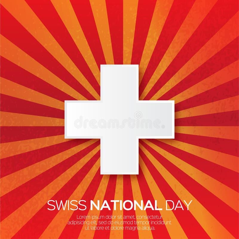 Abstrakter Schweizerbürgertag Die Schweiz-Unabhängigkeitstag origami stock abbildung