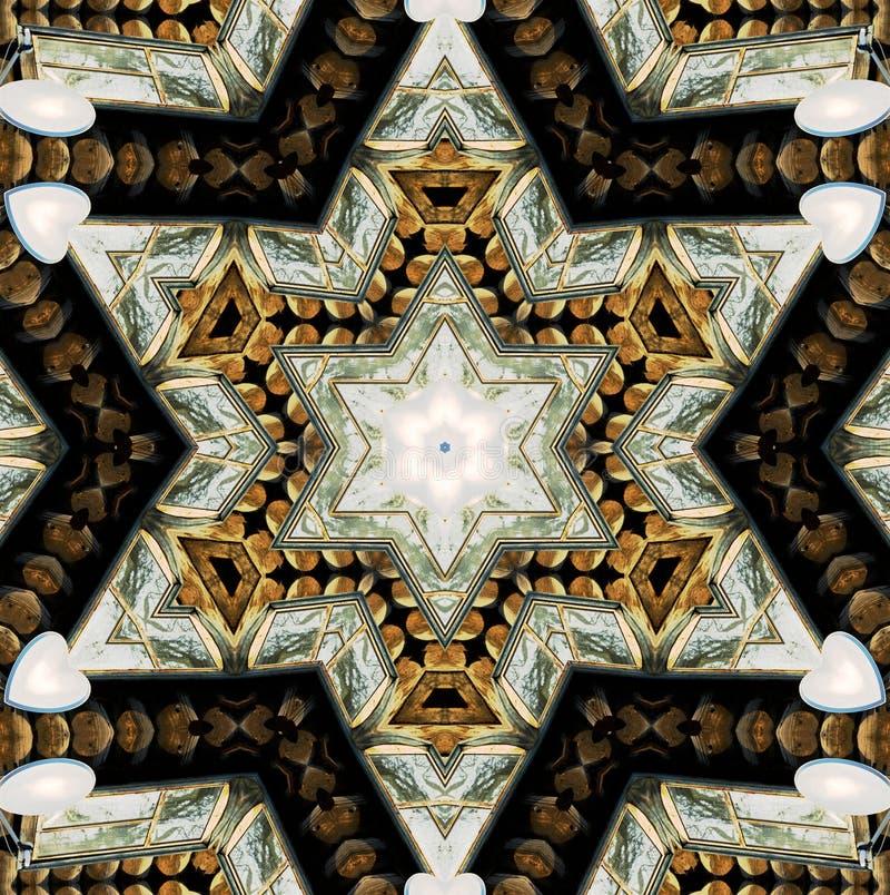 Abstrakter sechs-abschließender Stern mit Mustern. vektor abbildung