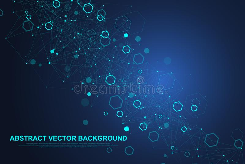 Abstrakter sechseckiger Hintergrund mit Wellen Sechseckige Molekülstrukturen Futuristischer Technologiehintergrund in der Wissens stock abbildung