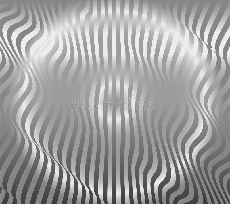 Abstrakter silberner Streifen-Muster-Hintergrund-Aluminiumvektor lizenzfreie abbildung