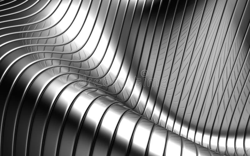 Abstrakter silberner Streifenmusteraluminiumhintergrund lizenzfreie abbildung