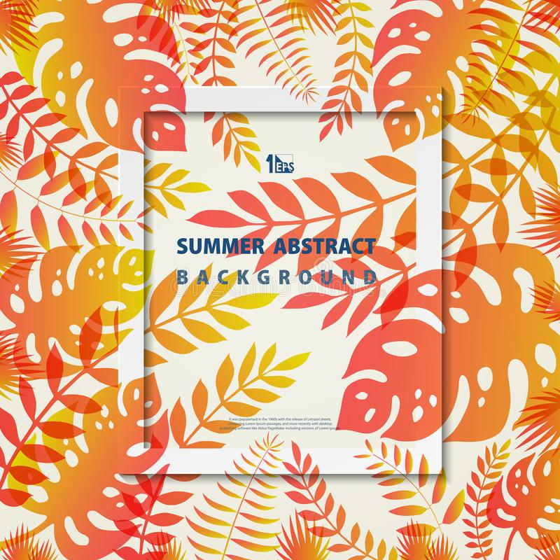 Abstrakter Sommerrahmen verlässt die Natur, die korallenroten und gelben Farbhintergrund lebt Illustrationsvektor eps10 lizenzfreie abbildung