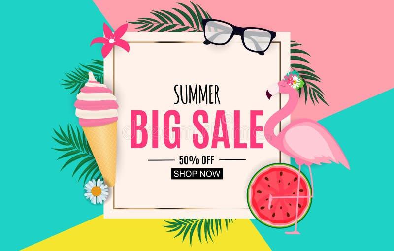 Abstrakter Sommerschlussverkauf-Hintergrund mit Palmblättern, Wassermelone, Eiscreme und Flamingo Auch im corel abgehobenen Betra stock abbildung