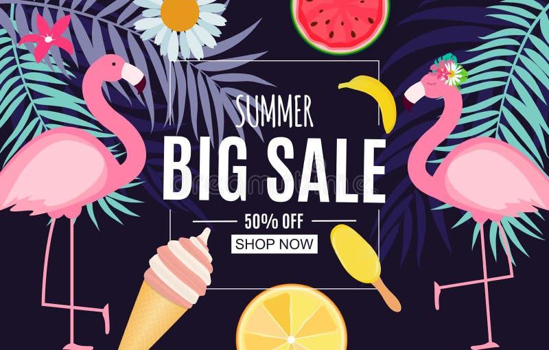 Abstrakter Sommerschlussverkauf-Hintergrund mit Palmblättern, Wassermelone, Eiscreme und Flamingo Auch im corel abgehobenen Betra vektor abbildung